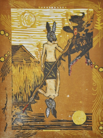 """The Magician"" Relief print on rag paper. 2012."