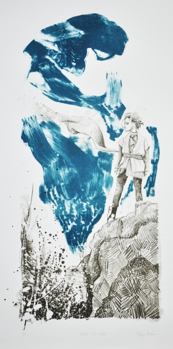 """Over the Edge"" Stone lithography on rag paper. 2013."