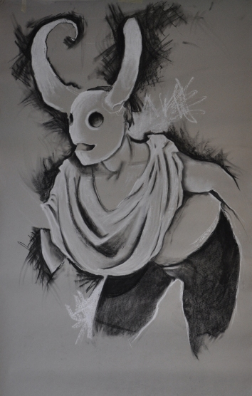 """Masked"". Charcoal and conte on paper. 2014."